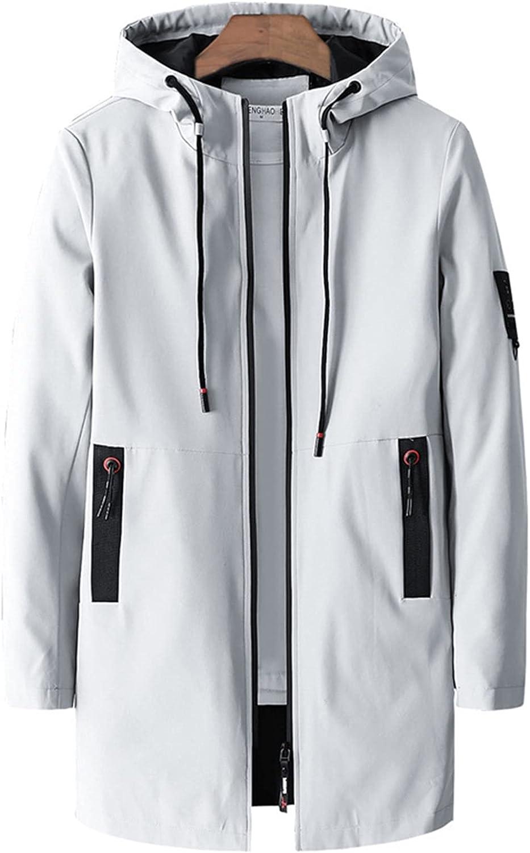 Men's Windbreaker Jacket Outdoor Waterproof Long Jackets Male Windproof Casual Jackets (Color : Grey, Size : XL)