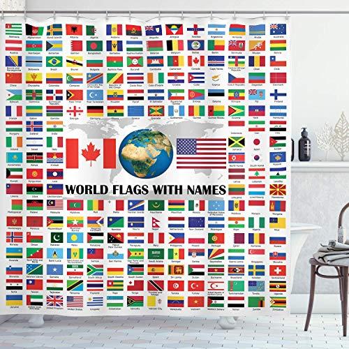 vrupi Die Fahne Duschvorhang hat eine große Zusammensetzung der Weltfahne der Welt Nationalität Name 71x71inch Waschen wasserdichtes Gewebe einschließlich 12 Kunststoffhaken