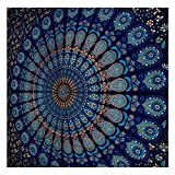 GLOBUS CHOICE INC. Blue Twin Mandala Tapestry Wall Hanging Indian Cotton Tapestries Bedspread Picnic Beach Throw Blanket Wall Art Hippie Tapestry