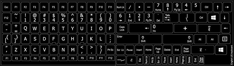 Replacement English US Keyboard Decals ON Black Background for Desktop, Laptop and Notebook