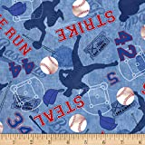 Timeless Treasures Score! Baseball Game Motifs Blue Quilt Fabric By The Yard
