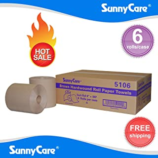 SunnyCare #5106 Brown One-Ply Hard Wound Paper Roll Towels 8