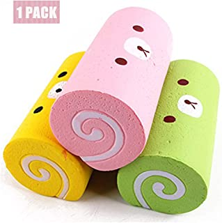 Jewelvwatchro Slow Rising Squishy Pink Swiss Roll Scented Slow Rising Hand Wrist Toy [Random Color] Pink