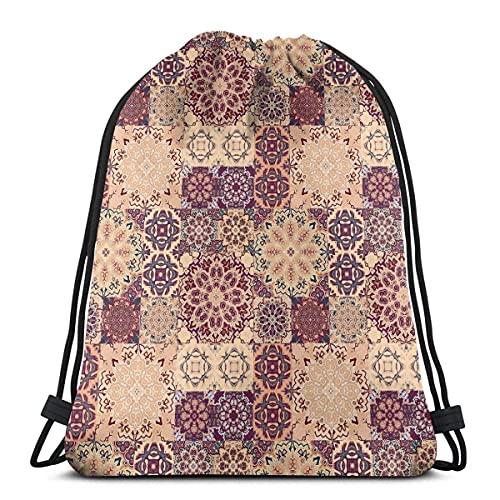 Estilo de rejilla adornado estilo cerámica estilo azulejo orientación vintage inspiraciones,cierre de cadena ajustable impreso cordón mochilas bolsas