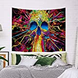 DIOVMA Skull Tapestry Hippy Wall Hanging Colorful Skeletons Hippie Wall Tapestry Bohemian Mysterious Abstract Wall Decor for Bedroom (51.2*59.1 Inches)