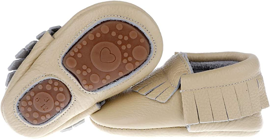 Pidoli Baby Leather Shoes Unisex Girls Boys Moccasins Rubber Sole (3 US6M 6-12Month 5.11