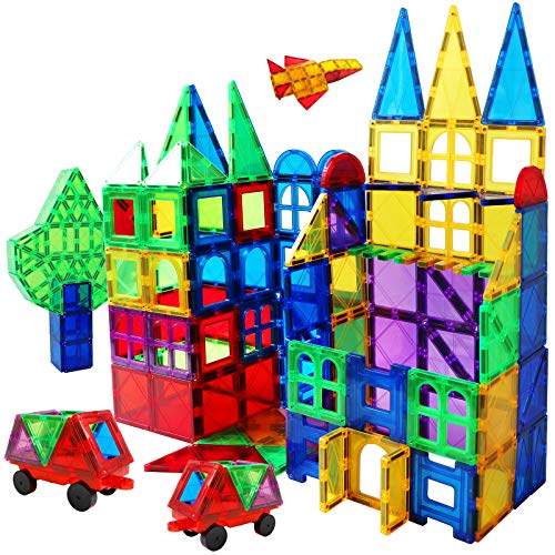 Magnet Building Tiles 130 Pcs 3D Toys Magnets Magnetic Blocks Set Preschool Toys Gifts for 3 4 5 Years Old Age Boys Girls and Toddlers.