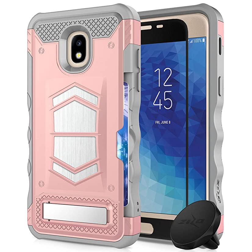 Samsung Galaxy Amp Prime 3 Case with Kickstand Heavy Duty Military Grade Phone Cover with Built in Magnetic car Mount + Glass Screen Protector Compatible Samsung Galaxy J3 (2018) (Rosegold)