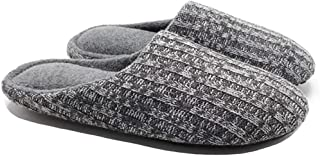 Knit Memory Foam Slippers, Plush Fleece Lined House Shoes, Silent Anti-Skid TPR Bottom, for Women Indoor Outdoor,Gray,XL
