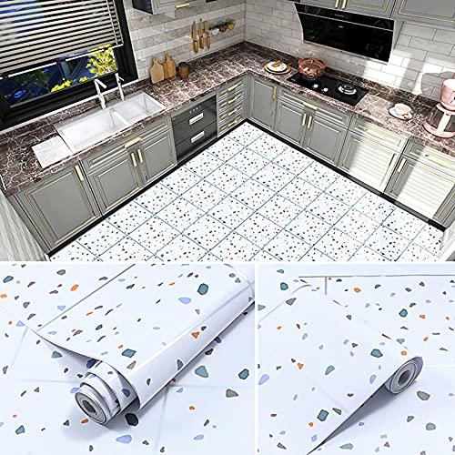 Bartholomew Papel de suelo autoadhesivo resistente al agua, antideslizante y resistente a la abrasión, decoración de parfiz, suelos de baño y cocina, rollo de vinilo