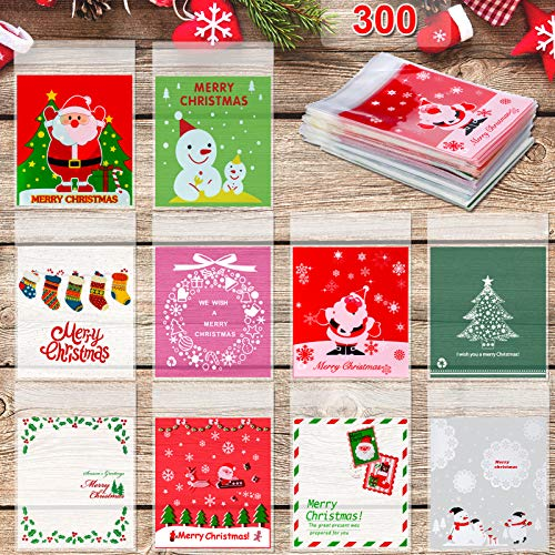 Konsait 300pcs Christmas Cellophane Bags, Christmas Cookie Candy Treat Bags Self-adhesive Sweets Biscuit Bags Plastic Bags for Christmas Party Favors Supplies,Xmas Santa Snowflake Goody Bags
