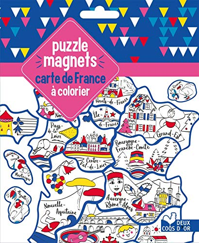 puzzle magnets carte de France à colorier