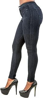 Women's Curvy Fit Blue Stretch Denim Basic High Waist Slim Jeans
