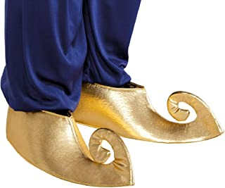 Fancy Me Ladies Mens Gold Aladdin Genie Arabian Shoe Covers Costume Outfit Accessory