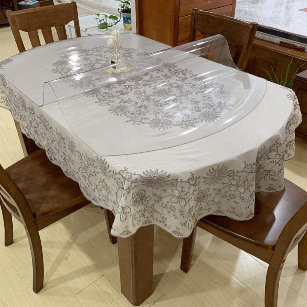 Sonze Mantel Hule de Vinilo de PVC,Mantel Lavable diseño Patchwork,Mantel Ovalado de PVC, Mantel Anti-Quemaduras y Que no se Lava-B-2.0mm_86 x 138cm