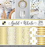 DCWV Card Stock 12'X12' Gold and White Premium Printed Cardstock Stack