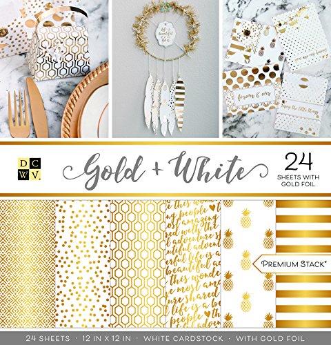 DCWV - Cartulina Impresa, Color Dorado y Blanco