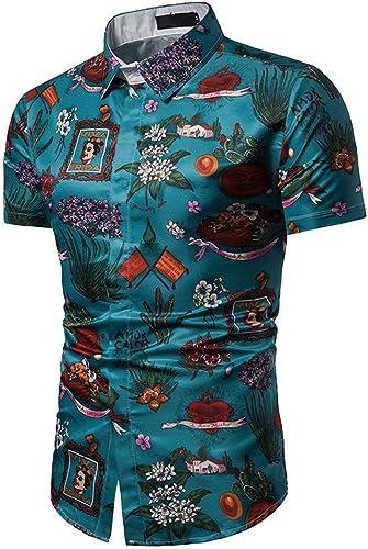 HHGZ été nouveau Hommes Slim Printed Shirt à Manches Courtes Hommes Décontracté British Style Grande Taille Chemise à Manches Courtes Cadeau du Jour De Père