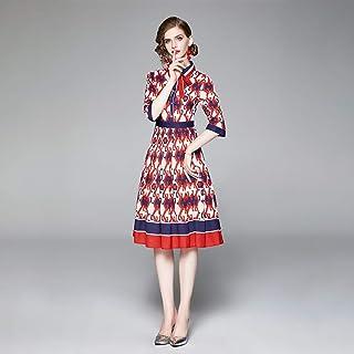 Robe de Mariage Robe Jupe Automne Style Contraste Rayé Revers Manches Courtes Taille Haute Robe D'Impression Géométrique D...