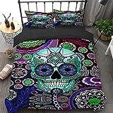 Skull Duvet Cover Set King 3 Pieces Skull Comforter Cover Set with 2 Pillowcases Sugar Skull Pattern Bedding Set Bohemia Floral Quilt Cover Boho Flowers King 90' x 103'(Not Comforter)