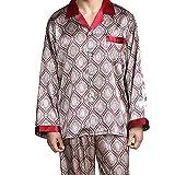 Top y Pantalones de Manga Larga para Hombre Conjunto de Pijama de Seda con Botones Ropa de Dormir Ropa de Dormir Ropa de Dormir