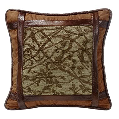 HiEnd Accents LG1860P1 Highland Lodge Framed Tree Pillow, 18 x 18