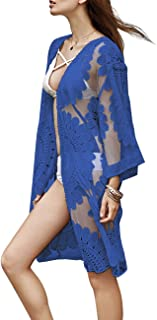 shermie Women's Floral Crochet Lace Beach Swimsuit Cover Ups Long Vintage Kimono Cardigan Dress