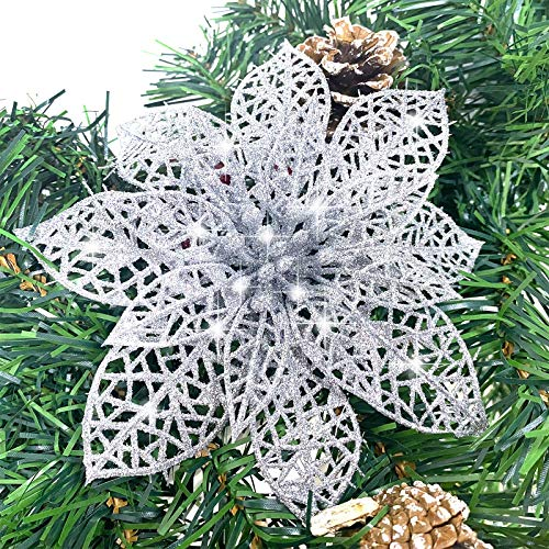TURNMEON 24 Pack 6 Inch Christmas Glitter Poinsettia Artificial Silk Flowers Picks Christmas Tree Ornaments for Gold Christmas Tree Wreaths Garland Holiday Decoration (Silver)