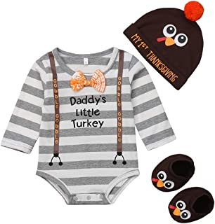 Baby Boys Girls Thanksgiving Daddy's Little Turkey Print Stripe Romper Long Sleeve Bodysuit Cotton Shoes Hat Outfits