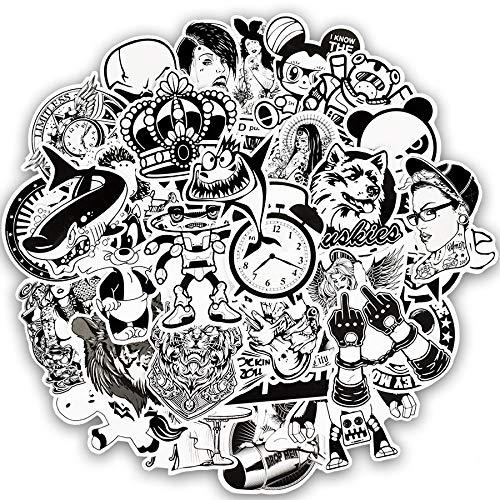 XXCKA 50 Stück zufällige Schwarz-Weiß-Aufkleber Graffiti Punk Coole Aufkleber für Kinder zum DIY Laptop Skateboard Koffer Fahrrad Helm Helm Auto