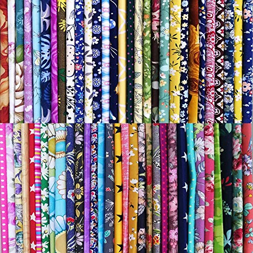 50pcs 8 x 8 inches Cotton Fabric Bundle Squares for Quilting Sewing, Precut Fabric Squares for Craft Patchwork