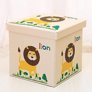 ZXXFR Panier À Linge Sale Corbeilles À Linge,l'enfant Lion Beige Tabouret De Rangement avec Poignée Paniers À Linge Pliabl...