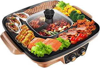 ZLSANVD Electric BBQ Hot Pot, Portable Electric Grill Indoor Barbecue 2-in-1 Super Pot with Grill Plate, Striped Baking Tray, Non-Sticky and Delicious