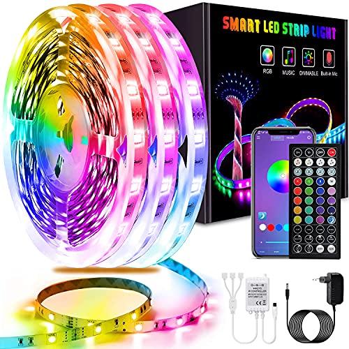 Tiras LED 15M, L8star RGB SMD Tiras de Luces LED, Control de APP y Remoto Control, 16 Millones de Colores, Sincronización de...