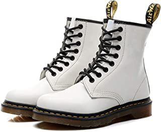 Dr. Martin Unisex Boots Round Locomotive Shoes Hiking Lace Up Ankle Boots doc martens womens Casual high-top Shoes Dr. Martin high-top Shoes waterproof non-slip (Color : White, Size : 34)
