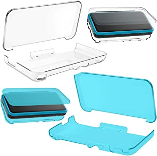 2 Pcs Protective Soft Cases Compatible New Nintendo 2DS XL LL, AFUNTA TPU Anti-Scratch Crystal Clear Cover - Transparent, Blue