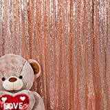 JYFLZQ Sequin Backdrop Curtain Photography Background Party Decor for Wedding Birthday Baby Shower (4 ft x 6.5 ft, Rose Gold)