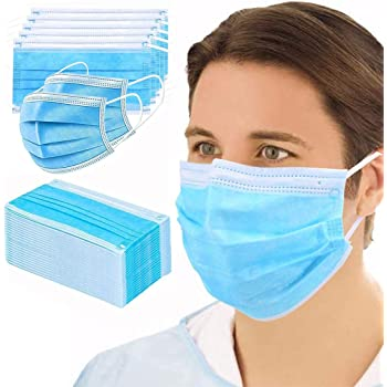 GreatDio® Non Woven Fabric 3 Layer Pollution Face Dust Surgical Disposable Mask With Nose Pin (100 Pack)