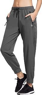 Baleaf Women's Lightweight Running Pants Woven Joggers Sun Protection UPF 50+ Zipper Pockets