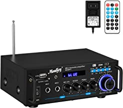 Moukey Bluetooth 5.0 Home Audio Power Stereo Amplifier for Speakers - Portable 2 Channel Stereo Desktop Amp Receiver with ...