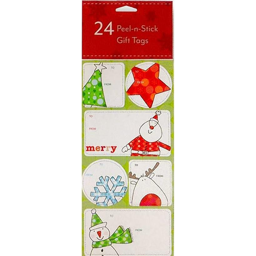 24 Assorted Peel-n-Stick Holiday Gift Tags (Trees, Stars, Snowflakes & Santa) zqivuhjowj