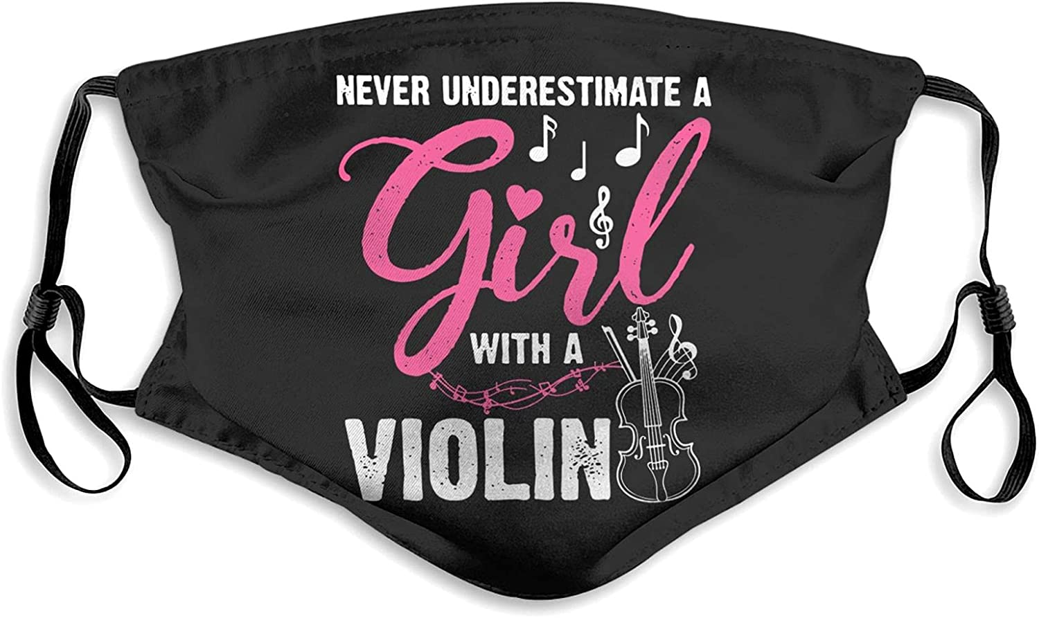 Never Underestimate A Girl with A Violin Bandana, Skincare Windproof Balaclava Adjustable Elastic Strap Neck Gaiter with 2 Filters