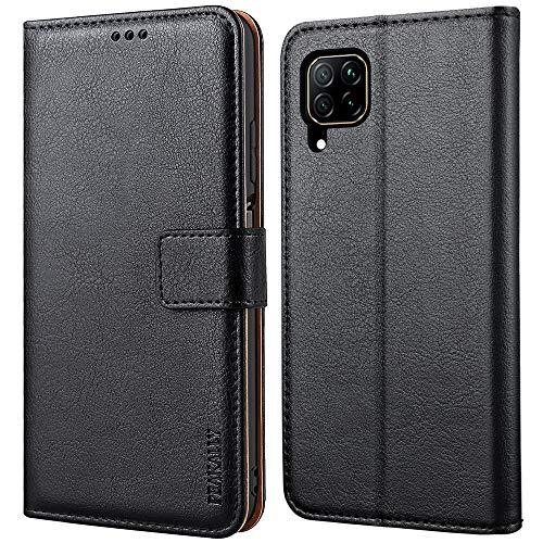 Peakally Huawei P40 Lite Hülle, Premium Leder Tasche Flip Wallet Hülle [Standfunktion] [Kartenfächern] PU-Leder Schutzhülle Brieftasche Handyhülle für Huawei P40 Lite-Schwarz