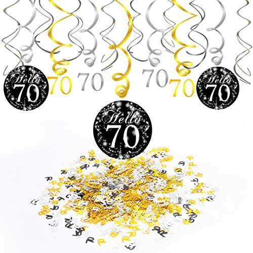 Konsait 70. Geburtstag Dekoration, 70. Geburtstags Spirale Deko schwarz und Gold (15 Grafen), Happy Birthday & Zahl 70 Konfetti (1.05 oz), 70 Jahre alt Party Dekorationen