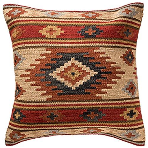 Indian Arts Fundas de cojín Kilim de Comercio Justo, Hechas a Mano con 80/20 Lana/algodón y tintes Naturales Kashi (45 x 45 cm), Lana 20% algodón. algodón, marrón, 60 x 60 cm