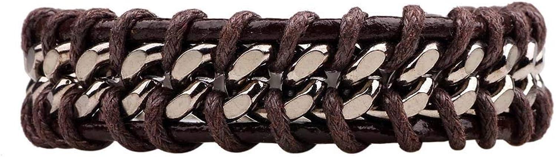 Zicue Stylish Charming Bracelet Exquisite Ornaments Vintage men's leather bracelet, Unisex woven bracelet 8.3 inches   21cm ( color   Brown )