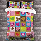 GTGTH Duvet Cover Set Patchwork Cute Heart Shaped Figures 3 Piece Bedding Set Comforter Set with 2 Pillow Shams Zipper-Extra Long Perfect for Any Bed Room Or Guest Room