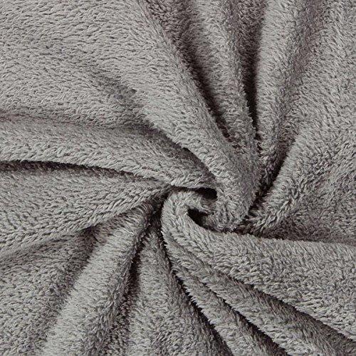 Fabulous Fabrics Teddy Plüsch Kuschel grau — Meterware ab 0,5m — zum Nähen von Jacken, Accessoires und Pullover