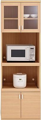 フナモコ 国産 完成品 食器棚 スマートキッチン 幅60.2×奥44.5×高180cm エリーゼアッシュ SKA-61R オープンボード60cm