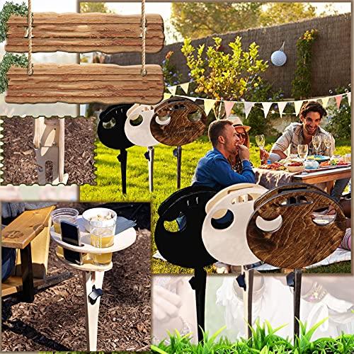 Dantazz Weintisch Klappbar Weintisch Campingtische Picknicktisch Tragbarer Runden Mini-Weinhalter Klapptisch aus Holz für Outdoor Garten Draußen Picknick Camping Reisen Strand (Braun)